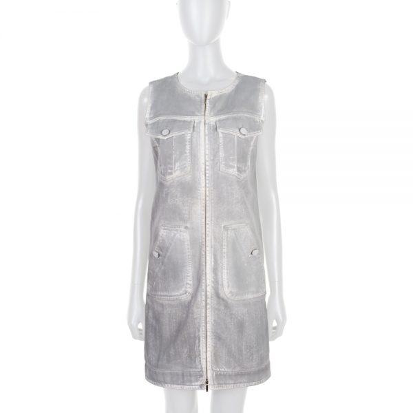 Grey Denim Zipped Cotton Dress by Chanel - Le Dressing Monaco