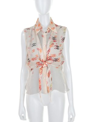 Off-White Red Black CC Printed Silk Shirt by Chanel - Le Dressing Monaco