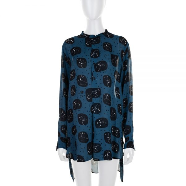 Blue Black Star Printed Silk Blouse by Christian Dior - Le Dressing Monaco