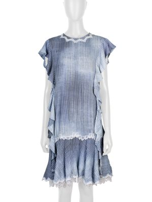 Blue White Lace Embellished Dress by Ermanno Scervino - Le Dressing Monaco
