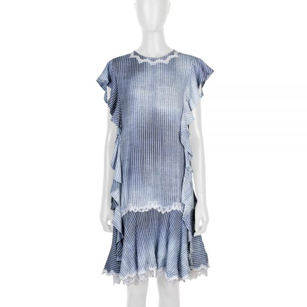 Blue White Lace Embellished Dress by Ermanno Scervino - Le Dressing Monaco
