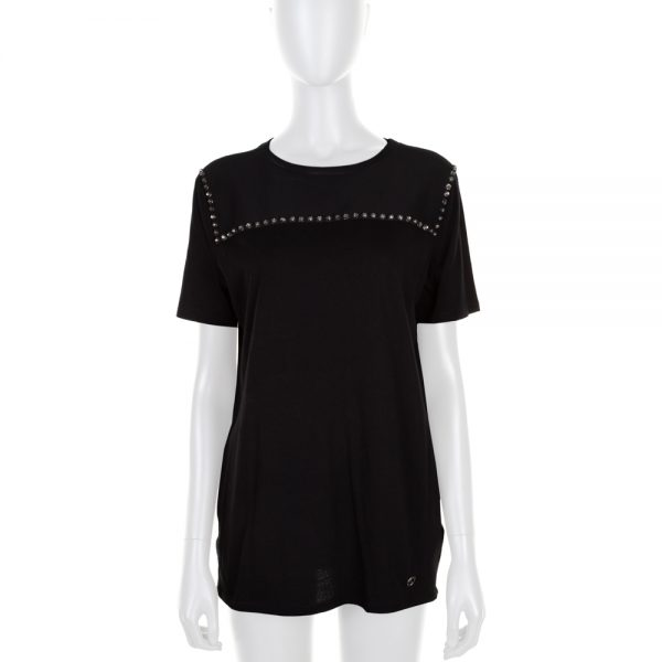 Black Crystal Embellished Short Sleeved Tee-Shirt by Gucci - Le Dressing Monaco