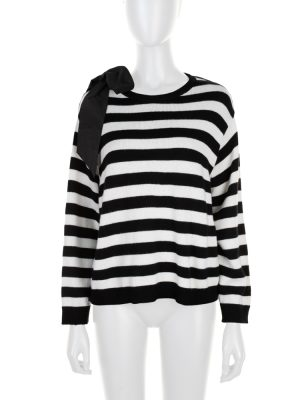 Black White Stripped Ribbon Cashmere Jumper by Chanel - Le Dressing Monaco