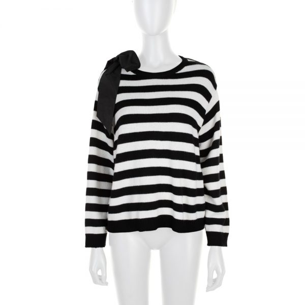Black White Stripped Ribbon Cashmere Jumper by Chanel - Le Dressing Monaco