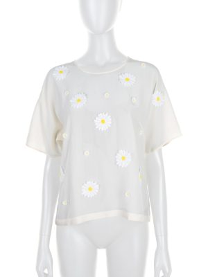 Off-White Daisy Flower Embellished Top by Dolce e Gabbana - Le Dressing Monaco