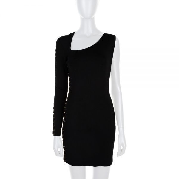 Black One Shoulder Knitted Laced Dress by Balmain - Le Dressing Monaco