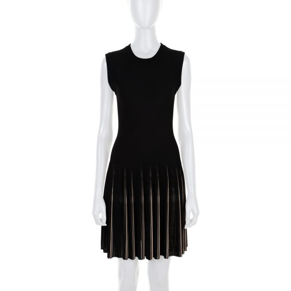 Black Beige Knitt Pleated Dress by Alaïa - Le Dressing Monaco