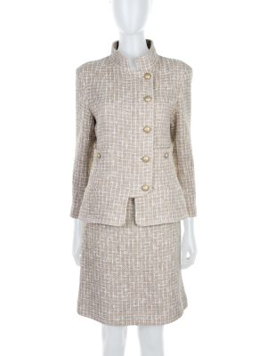Beige Off-White Boucle Gold Buttoned Skirt Suit by Chanel - Le Dressing Monaco