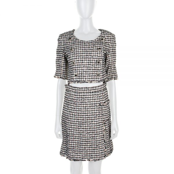 White Black Crop Topped Skirt Suit by Chanel - Le Dressing Monaco