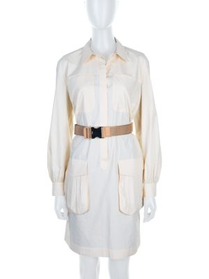 Off-White Belted Two Pockets Shirt Dress by Fendi - Le Dressing Monaco