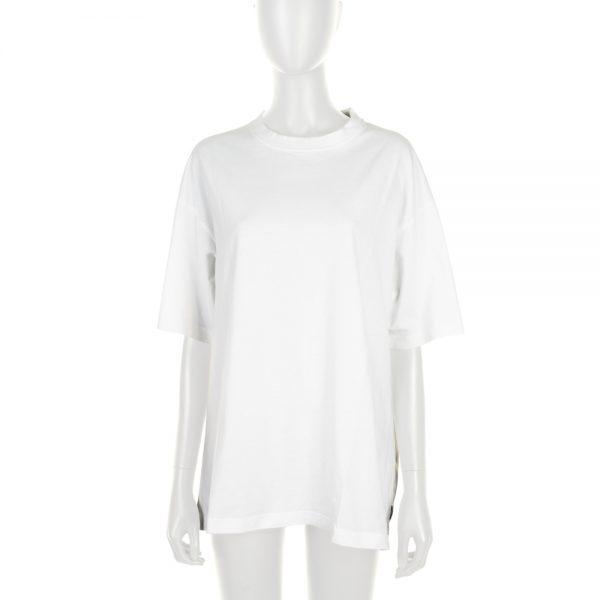White Embroidered Oversized Tee-Shirt by Balenciaga - Le Dressing Monaco