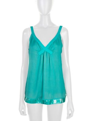 Turquoise Silk Vinyl Border Tank Top by Bottega Veneta - Le Dressing Monaco