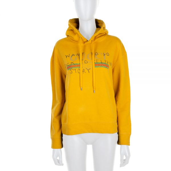 Yellow Printed Cotton Hoodie by Gucci - Le Dressing Monaco