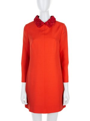 Red Flower Leather Removable Collar Dress by Valentino - Le Dressing Monaco