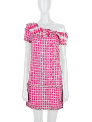 Pink One Shoulder Boucle Dress by Chanel - Le Dressing Monaco