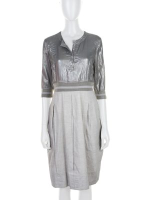 Grey Shiny Lurex Buttoned Dress by Balenciaga - Le Dressing Monaco