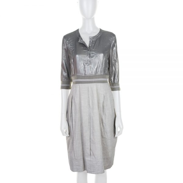 Grey Shiny Lurex Buttoned Dress by Balenciaga - Le Dressing Monaco