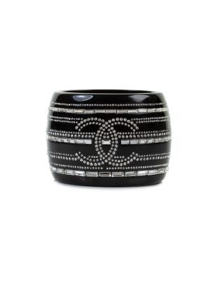 Black Resin Crystal Cuff by Chanel - Le Dressing Monaco