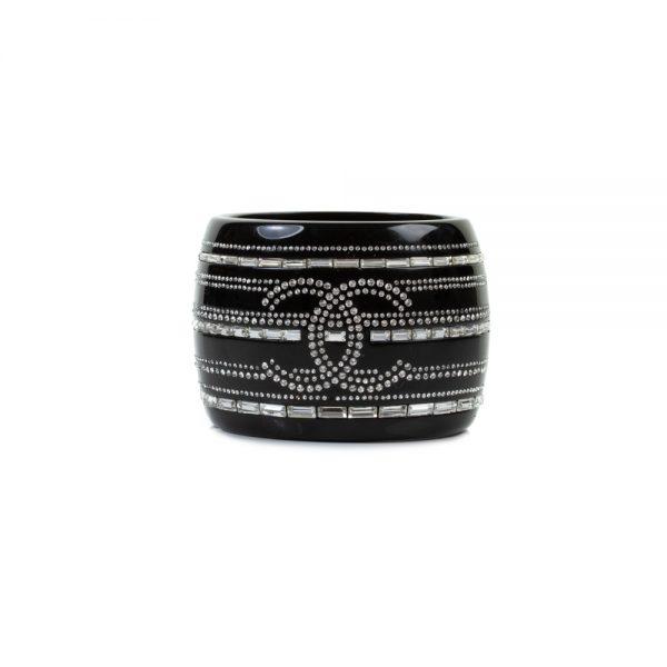 Black Resin Crystal Cuff by Chanel - Le Dressing Monaco