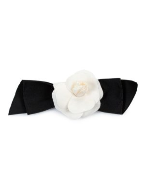 Black Off-White Ribbon Camellia Brooch by Chanel - Le Dressing Monaco