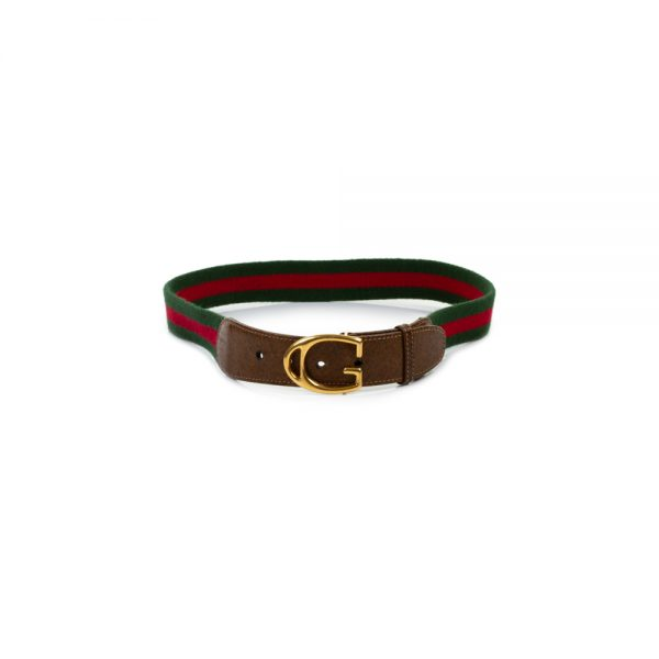 Green Red Cotton Leather Gold G Belt by Gucci - Le Dressing Monaco