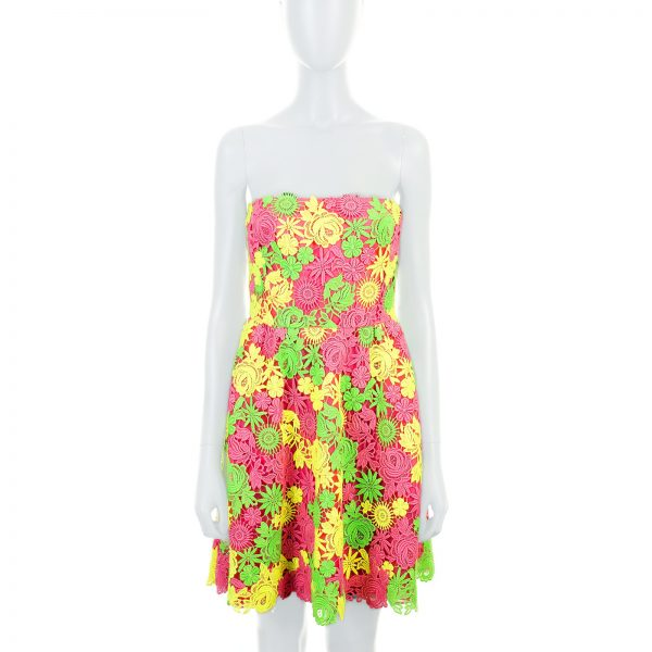 Fluorescent Floral Bustier Lace Dress by Valentino - Le Dressing Monaco