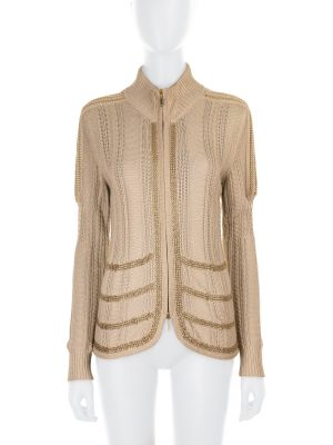 Gold Chain Embellished Zipped Cardigan by Chanel - Le Dressing Monaco