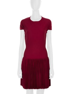 Burgundy Open Back Pleated Mini Dress by Alaia- Le Dressing Monaco