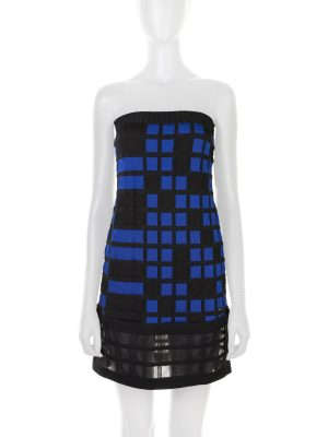 Black And Blue Square Pattern Mini Bustier Dress by Chanel - Le Dressing Monaco