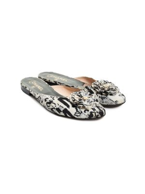 Ivory Black CC Printed Slippers by Chanel - Le Dressing Monaco
