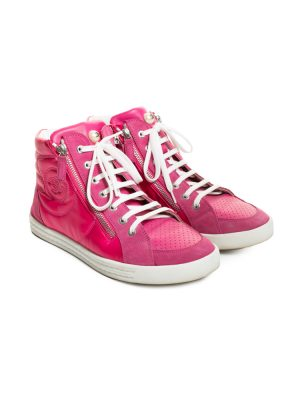Fuchsia CC Leather High Top Sneakers by Chanel - Le Dressing Monaco