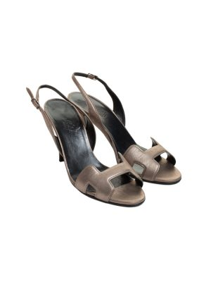 Grey Metallic Leather Night 90 Sling-backs by Hermès - Le Dressing Monaco