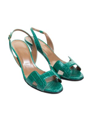 Green Croco Leather Night 70 Sling-Backs by Hermès - Le Dressing Monaco