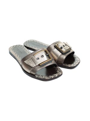 Bronze Metallic Intrecciato Leather Sandals by Bottega Veneta - Le Dressing Monaco