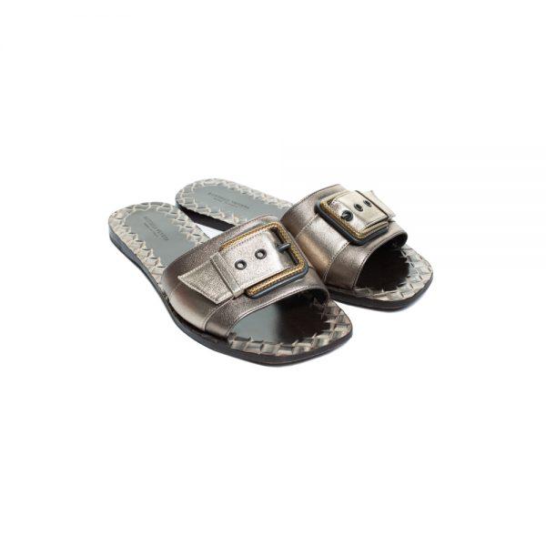 Bronze Metallic Intrecciato Leather Sandals by Bottega Veneta - Le Dressing Monaco