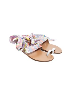 Brown Leather Twilly Ankle Wrapped Sandals by Hermès - Le Dressing Monaco