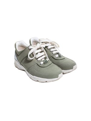 Khaki Canvas Fabric Leather Sneakers by Chanel - Le Dressing Monaco