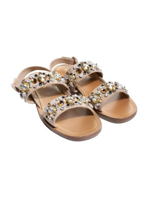 Nude Crystal Embellished Leather Sandals by Chanel - Le Dressing Monaco