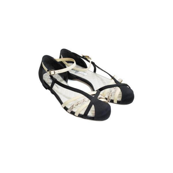 Black Nude Satin Python Leather Sandals by Chanel - Le Dressing Monaco