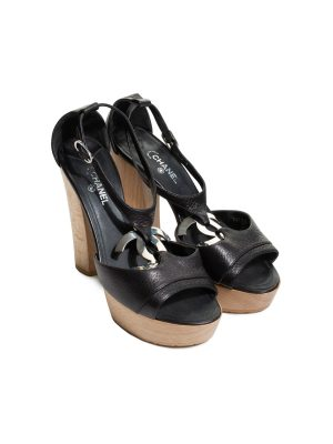 Black CC Leather Wood Platform Sandals by Chanel - Le Dressing Monaco