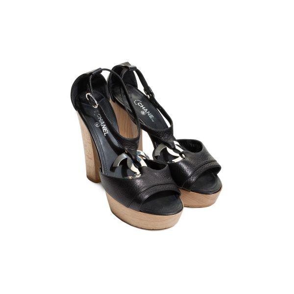Black CC Leather Wood Platform Sandals by Chanel - Le Dressing Monaco