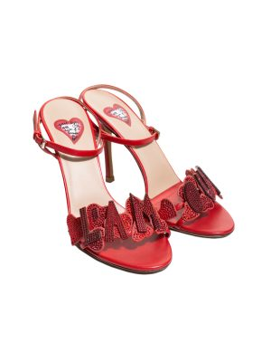 Red Leather L'Amour Ankle Strapped Sandals by Valentino - Le Dressing Monaco