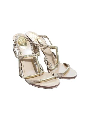 Gold Lamé Leather Suede High Heel Sandals by Gucci - Le Dressing Monaco