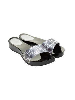 Grey Black Satin CC Slide Wood Clogs Sandals by Chanel - Le Dressing Monaco