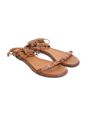 Brown Gold Stars Ankle Strapped Sandals by Red Valentino - Le Dressing Monaco