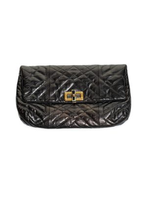Black Happy Quilted Leather Clutch Bag by Lanvin - Le Dressing Monaco