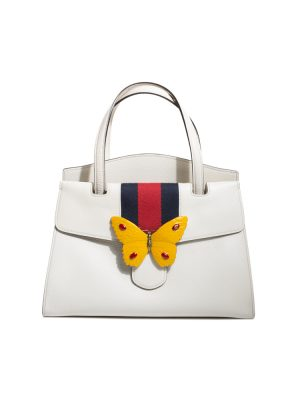 White Medium Butterfly Totem Top Handle Bag by Gucci - Le Dressing Monaco