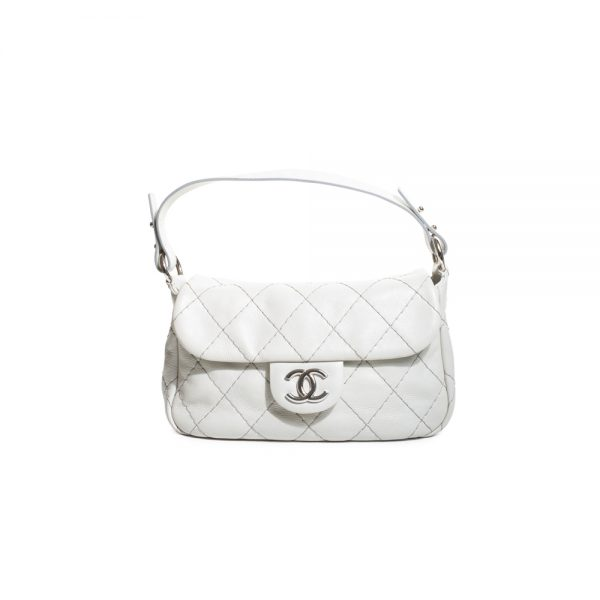 White On The Road Flap Bag Silver HW by Chanel - Le Dressing Monaco