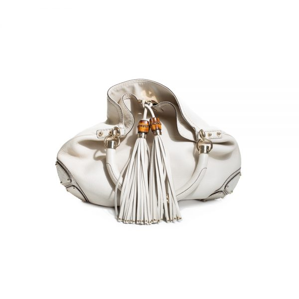 Ivory Indy Top Handle Leather Hobo Bag by Gucci - Le Dressing Monaco