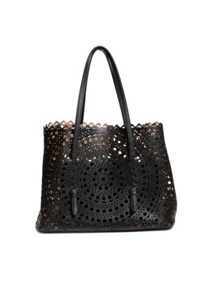 Black Leather Laser Cut Tote Bag With Mirror by Alaïa - Le Dressing Monaco